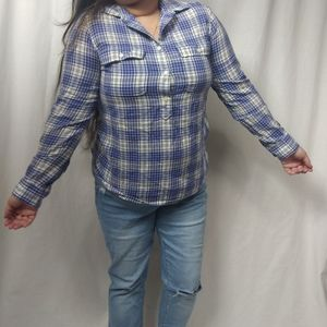 Madewell Plaid Half Button Down Blue White Shirt M